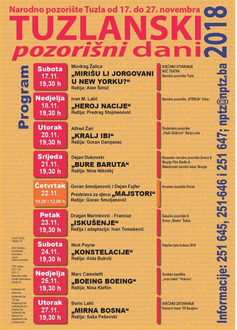 Tuzlanski pozorišni dani 2018 od 17. do 27.11. u Narodnom pozorištu Tuzla