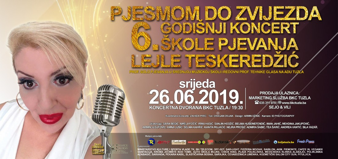 Pozivamo vas na - Šesti godišnji koncert Škole pjevanja profesorice Lejle Teskeredžić